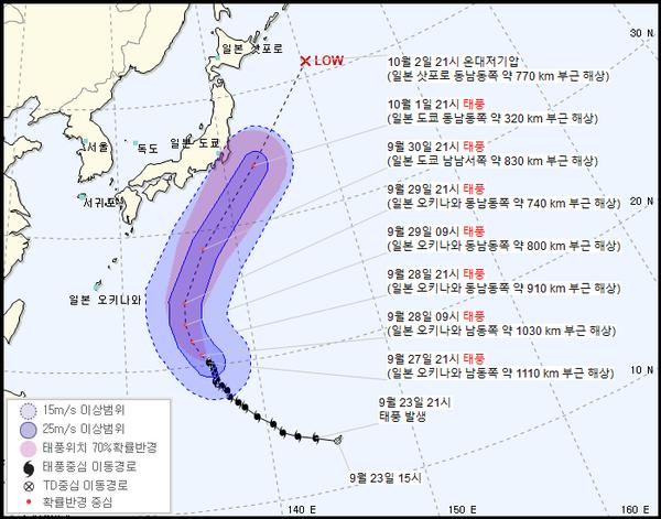 2021 16호 태풍 민들레 경로 (기상청 제공)