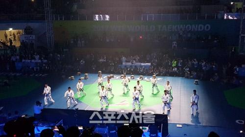 [무주 태권도선수권] 송판·기와 격파에 상황극까지…北 태권도 첫 공연에 열띤 박수