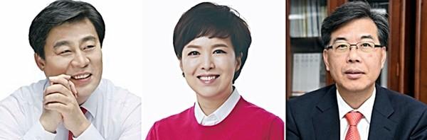 미래통합당 김선동 사무총장, 김은혜 대변인, 송언석 비대위원장 비서실장.