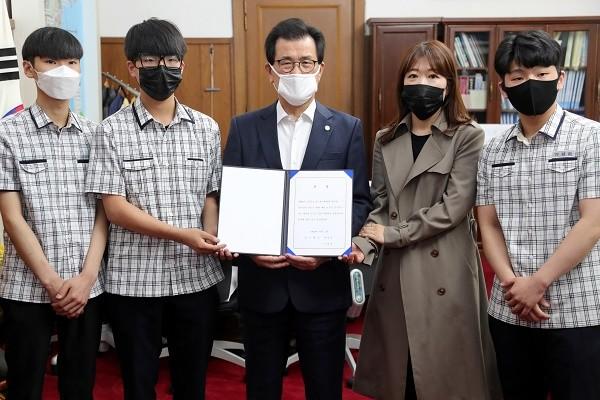 충북 기능경기대회 참가선수단 출정식 모습.(사진제공=충북도청)