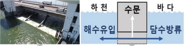 (왼쪽)평상시 수문 운영/상시개방 기간 수문 운영(오른쪽) 모습/제공=부산시