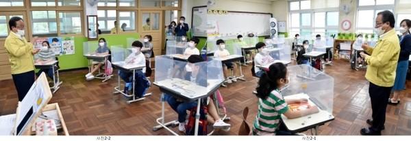 김석준 교육감, 등교수업 첫날 서명초등학교 방문활동 모습/제공=부산교육청