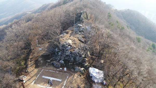 용인 석성산 봉수터 발굴 사진. 제공=경기도청
