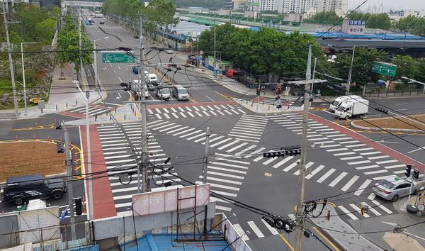 매천지하차도 상부교차로 교통체계 개선후 모습(사진제공=북구청)