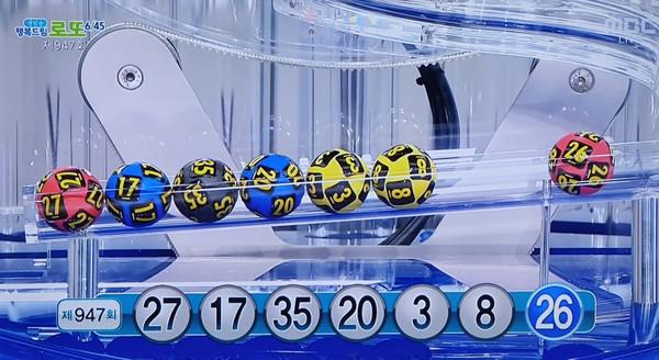 로또 947회 1등당첨번호 1등당첨지역 공개 (MBC방송캡쳐)