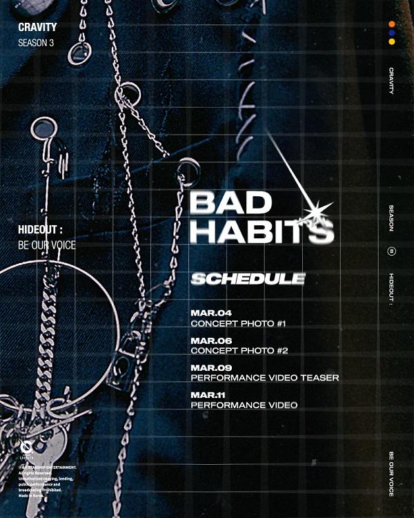 크래비티, 후속곡 Bad Habits 스케줄러 공개...우주소녀 엑시 작사에 참여