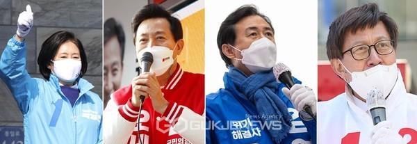 4.7서울과 부산시장 재보궐선거에 나선 박영선·오세훈·김영춘·박형준 후보