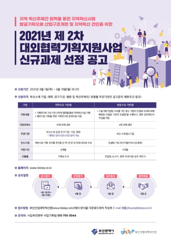 2021년 제2차 대외협력지원사업 신규과제 선정 공고 포스터.(사진=부산시 제공)