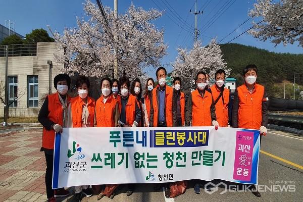 환경정화활동 참여자들 모습.(제공=괴산군청)