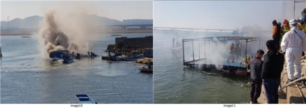관내 명지동 소형바지선 화재(3월 22일)/소형 바지선 화재 진압장면