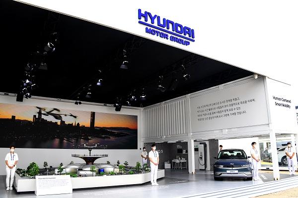 '2021 서울 스마트 모빌리티 엑스포'에 참가한 현대자동차그룹 부스 전경