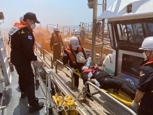 해양수난구조훈련. 사진=보령해양경찰서