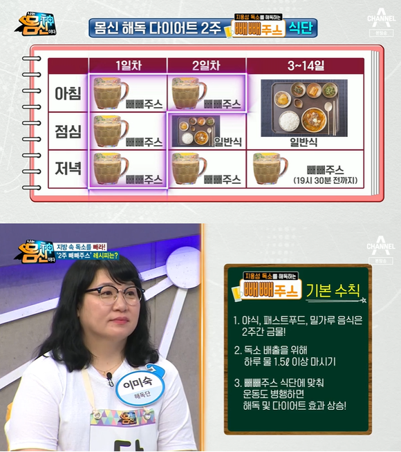 '나는 몸신이다' 빼빼주스 레시피 공개(사진=채널A)