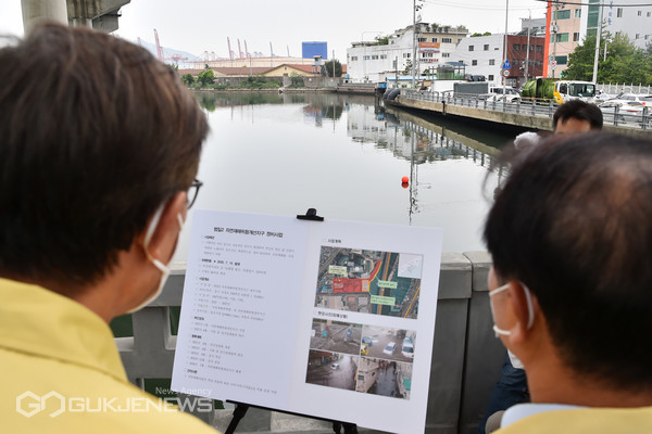 범일2지구(동천)침수예방사업 현장 방문 모습