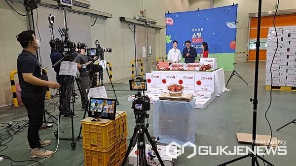 농협몰하늘뜨레사과라이브커머스방송모습(사진=제천시)