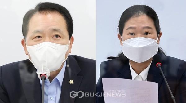 성일종 국민의힘 실무협상단장과 권은희 국민의당 실무협상단장.