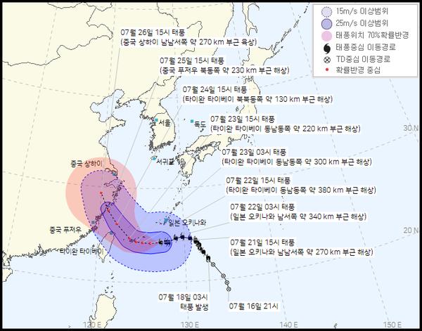 제6호 태풍 '인파' 이동경로 (기상청 제공)