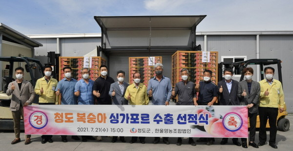 청도 복숭아, '싱가포르 수출' 개시... 단체기념.(사진=청도군)