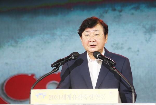 '세계유산축전 안동' 축하하는 권영세 안동시장.(사진=안동시)