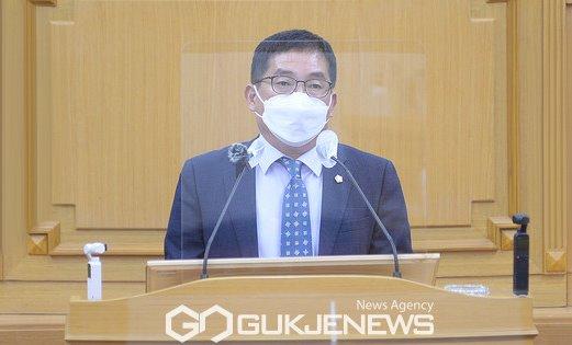 파주시의회 박대성 의원, 조리읍 119안전센터 설치 촉구 5분 자유발언.(사진제공.파주시의회)