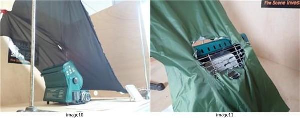텐트 외부스킨을 가스히터와 접촉 실험/가스히터와 5cm 접근 시 텐트(일반, 방염) 소손 장면