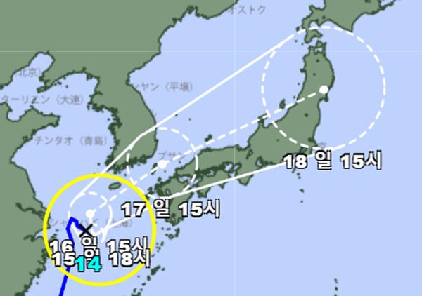2021 14호 태풍 찬투 이동경로와 현재위치 (일본기상청 제공)