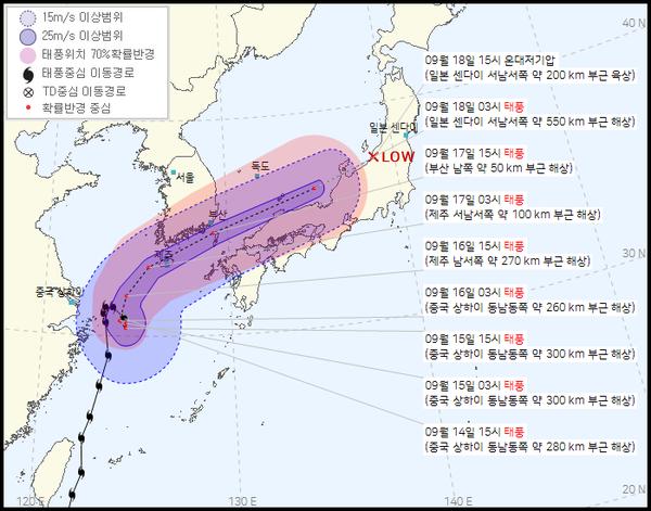 2021 14호 태풍 찬투 이동경로 (우리나라 기상청 제공)