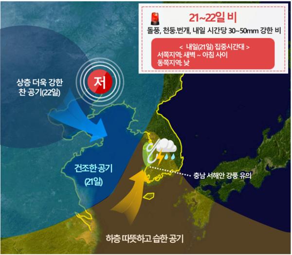 9월 21~22일 강수 모식도 '대구경북' (기상청 제공)