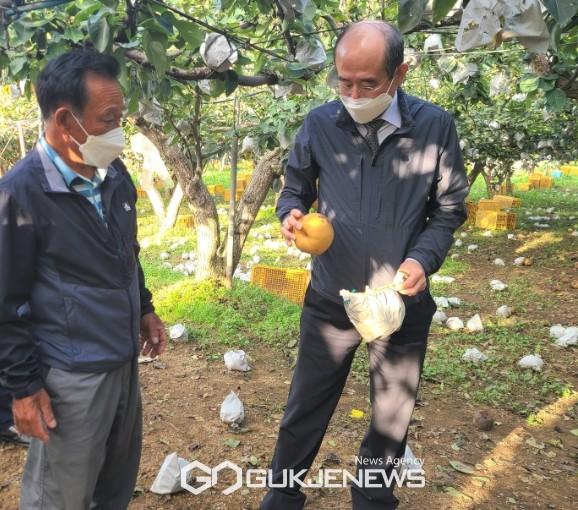 농협중앙회유찬형 부회장은 5일 충남 천안시 성환읍 농업현장을 방문하여 강풍과 우박으로 인한 피해상황을 점검하고 농업인들을 위로했다.