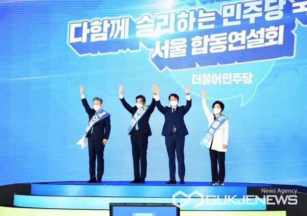 (왼쪽부터) 이재명, 이낙연, 박용진, 추미애 후보(사진=구영회 기자)