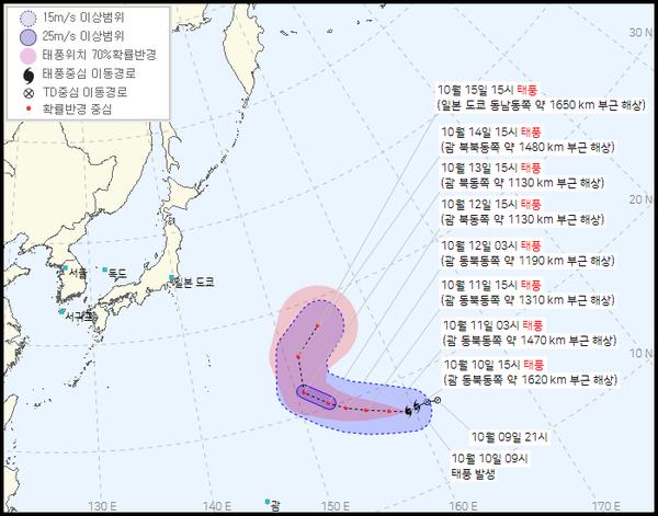 2021 19호 태풍 남테운 경로 (기상청 제공)