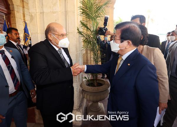 박병석 국회의장, 이집트 상원의장 회담