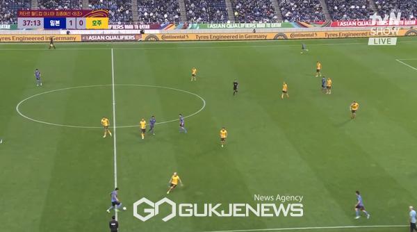 [속보]일본 축구 카타르 최종예선, 호주 상대로 선제골 '1-0'(사진=쿠팡플레이)