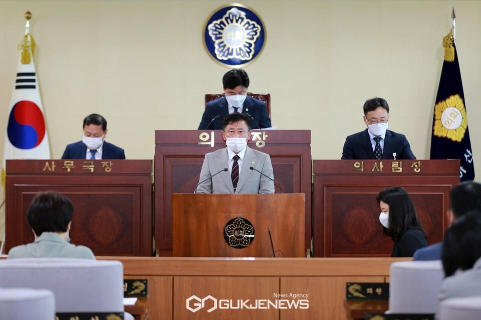 5분 발언하는 윤원준 의원